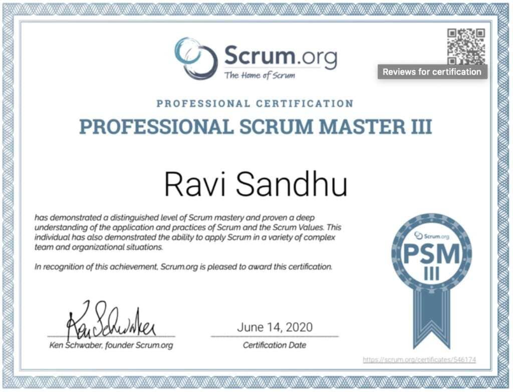 Professional Scrum Master (PSM) III
